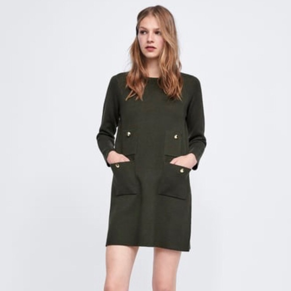 a020770c Zara Dresses | Olive Green Knit Dress | Poshmark